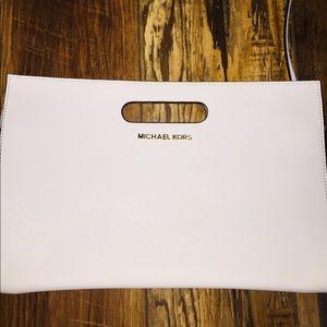 Handbags - Michael Kors White Envelope Clutch w/ Strap